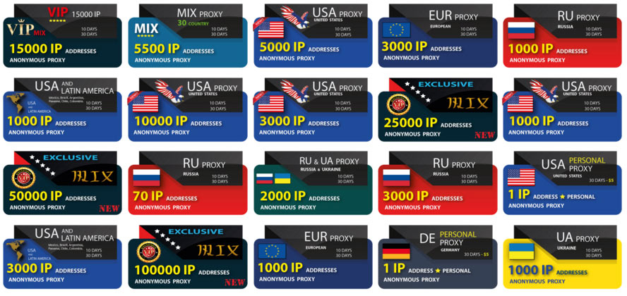 Buy proxy VIP, MIX, EURO, US, Russia, Latina, Exclusive proxy